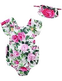 SAMGU Nouveau-né Infant Enfants Bébés Fleurs Imprimer Jumpsuit Rompers Avec Bandeau Tenues Vêtements Combinaison