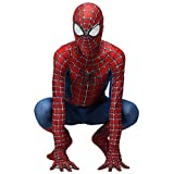 QWEASZER Classico Peter Parker Spider-man costume Spiderman costume Cosplay zentai Costume adulto Halloween Fancy Dress Party movie Costume Puntelli,Red-165~175cm