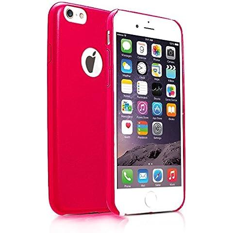 Alienwork Funda para iPhone 6 Prueba de golpes protectora bumper case Ultra-delgada Cuero rojo AP624-02