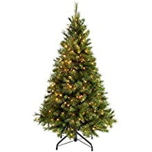 5ft (1.5m) Victorian Pine Pre-Lit Christmas Tree with 300 Warm White LED Lights with Easy Build Hinged Branches