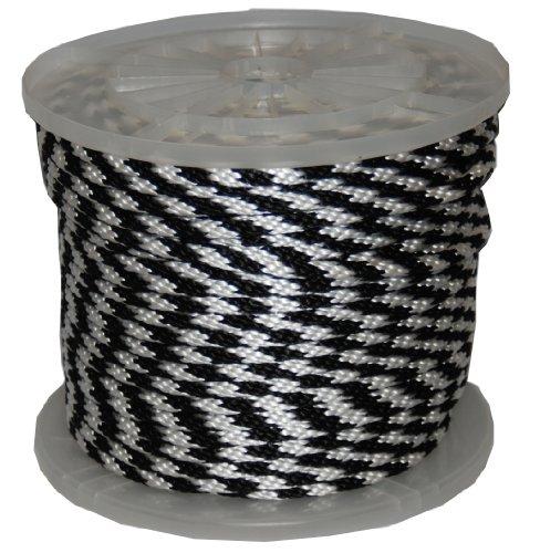T.W, Evans, 983233/8Zoll von 300-feet Solide Braid Polypropylen Multifil Derby Seil, Schwarz und Weiß (Seil Derby)