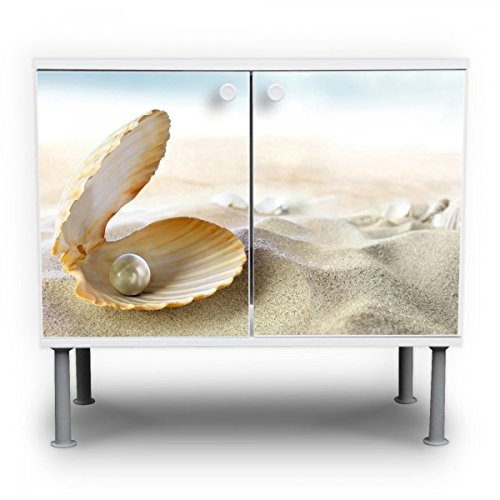 banjado - Badunterschrank 60x55x35cm Design Waschbeckenunterschrank mit Motiv Perlenmuschel