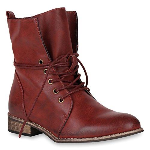 Stiefelparadies Damen Stiefeletten Schnürstiefeletten Leicht Gefütterte Stiefel Leder-Optik Boots Klassisch 148506 Dunkelrot 36 Flandell