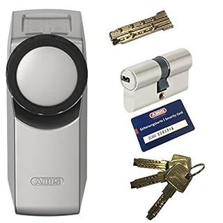 ABUS HomeTec Pro CFA3000 S silber + EC660 Doppelzylinder 30/60mm mit Not-u. Gefahrenfunktion, 3 Schlüssel + 1 Antriebsschlüssel