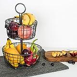 El Tazón Metálico de fruta negro de 2 capas, la Canasta Circular de Alambre de Kealive innovadora...