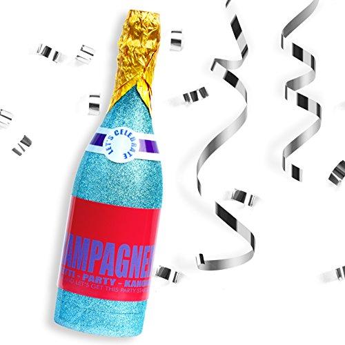 papapanda Konfetti Konfettikanone Party Popper Confetti Shooter Champagner Flasche Cannon Streamer Champagne Bottle (Radiant Sky Blue)