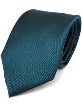 schöne TigerTie Krawatte in grün dunkelgrün einfarbig fein Rips - Polyester