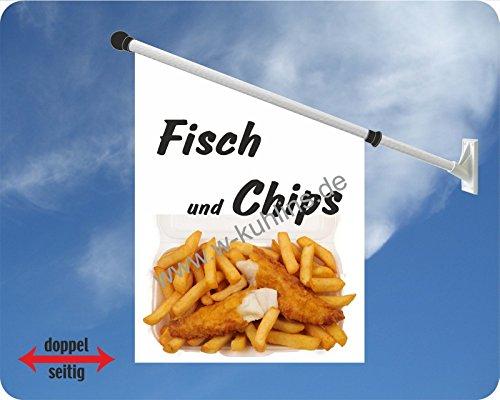 Werbeflagge, Werbefahne - Crepes, Zuckerwatte, gebrannte Mandeln - Ideal für Jahrmarkt, Kirmes, Stadtfest oder Buden, versch. Varianten, weiß (Fisch und Chips) -