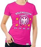 Damen T-Shirt - Weltmeister Deutschland 54 74 90 14 Fuchsia-Weiss XXL