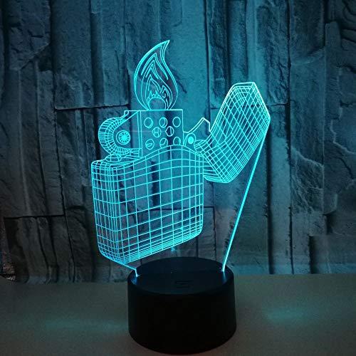 Kreatives Feuerzeug Modell 7 Farbwechsel LED 3D Nachtlicht Illusion LED Schreibtisch Tischlampe Für Kinder Spielzeug Geschenk