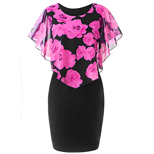 VEMOW New Fashion Elegant Damen Schlauchrock Casual Plus Size Rose Print Schmetterlingshülse...