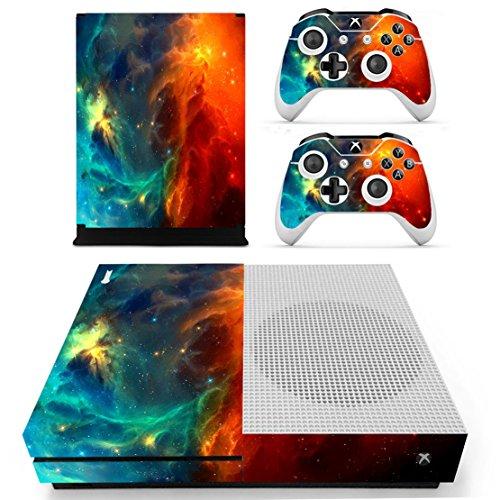 dotbuy Xbox One S selbstklebend Konsole Decal Vinyl Skin Sticker + 2selbstklebend Controller + 1selbstklebend Kinect Set blau Starry Blue-Orange (Light Xbox-1-spiele Dying)