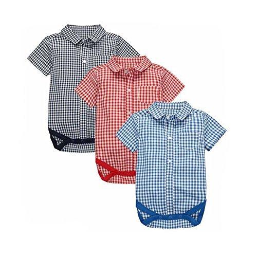 CuteOn 3 pack Manica corta Plaid Bambino pagliaccetto Ragazzi Camicie bambini Abbigliamento 01 Rosso/Blu/Blu reale 18 Mesi