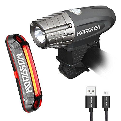 HODGSON Juego de luces led para bicicleta, recargable, potente, luz delantera y trasera, antisalpicaduras para bicicleta de montaña