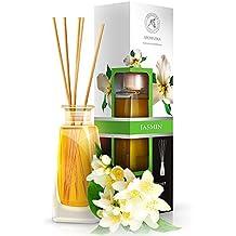 Diffusore di profumo per ambiente Gelsomino (Jasmine) 100 ml, con 8 bastoncini di bambù, olio essenziale naturale, fragranze naturali intenso e duraturo, alcool 0%, profumo in camera per aromatizzare l'aria interiore per la camera, diffusori a lamella, diffusore a lamella di fragranza, la cucina, il bagno, la casa, l'ufficio, aromaterapia, ottimo per aromi naturali, rinfrescante, in vetro, da AROMATIKA