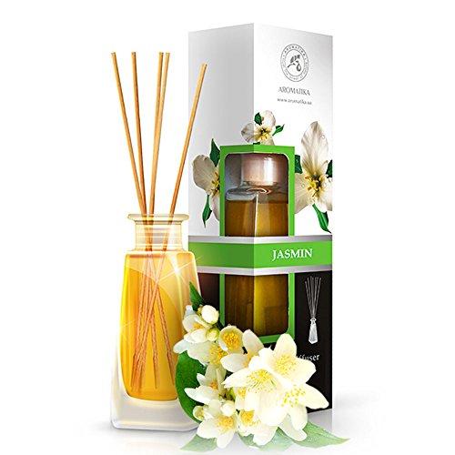 Diffusore profumato gelsomino 100ml - con 8 bastoncini di bambù - con olio essenziale jasmine - fragranza intensa e duratura - senza alcool - aromatizzatore d'aria per interni - aroma diffuser