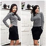 Damen Freizeit Stilvolles Kleid in Grau für Frauen mit Taschen, 100% Baumwollkleid, Winterkleid, Kleid mit langen Ärmeln, Kleid für jeden Tag, Größe M-L
