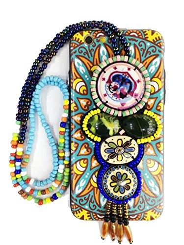 Bubblegum Fällen Tribal Anhänger Artistic Hard zurück iPhone umfasst mit Tragebeutel, Jeweled Bunte Halskette Perlen, türkis, iPhone 7 Plus/iPhone 8 Plus