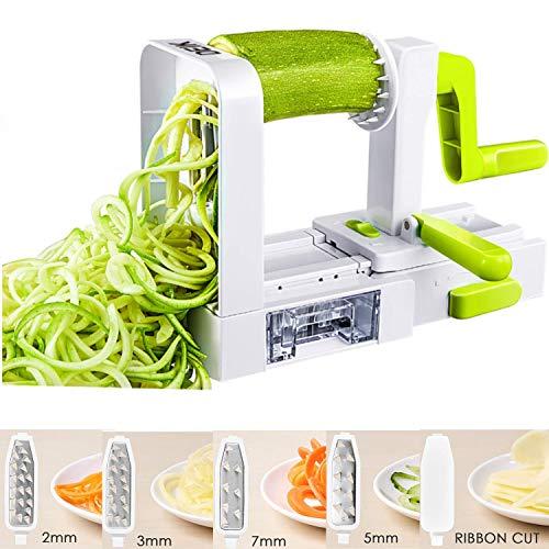 DEIK spiralizzatore di verdure è un affascinante assistente di cucina. Ti aiuta a mangiare sano e crea facilmente deliziosi pasti a base di frutta o verdura. Bastano pochi minuti per trasformare frutta e verdura in spaghetti, spirali o fette. Può ess...