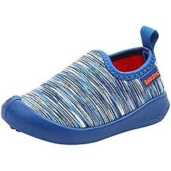 Zapatos de Bebé,ZARLLE Zapatillas Niño Zapatillas deportivas de lona con estampado de rayas Antideslizantes Zapatos de Dibujos Animados Suave de Suela squeak Sneakers