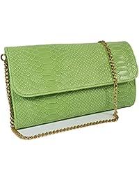 5088702092bac Freyday Echtleder Damen Clutch Tasche Abendtasche Muster Metallic 25x15cm