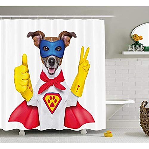 Superhelden Duschvorhang, Super Welpen Held Hund in Maske und Umhang Kostüm Humor Funny Cute Bild, Stoff Badezimmer eingerichtet mit Haken, Rot Gelb Royal Blue 72