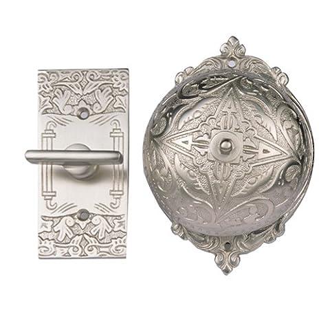 Adonai Hardware Belshazzar Brass Manual Old Fashion Door Bell or Twist Door Bell or Hand-Turn Door Bell - Satin (Brass Bell Hardware)