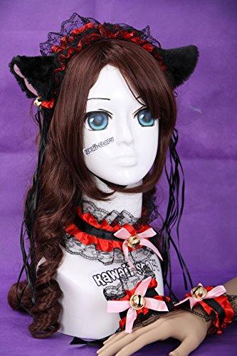 C-06 schwarz rot Gothic Lolita Maid Katzen Ohren Cat Ear Haarband Halsband Armband Set (Kostüm Ohren Katze Rote)
