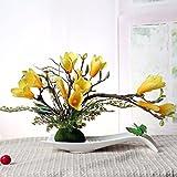 LVLIDAN Kunstblumen real touch künstliche Blume Kreative Set Orchidee Keramik fach gelb