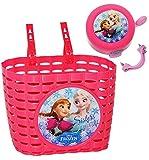 2 tlg. Set: Fahrradklingel + Fahrradkorb / Korb - Disney Frozen - die Eiskönigin