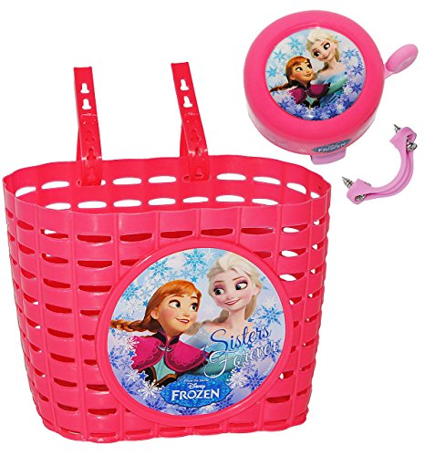 alles-meine.de GmbH 2 TLG. Set: Fahrradklingel + Fahrradkorb / Korb -  Disney Frozen - die Eiskönigin  - mit Befestigung für Lenker vorn - Klingel / Fahrrad Kinder - Mädchen / .. (Kinder Fahrrad Korb Vorn)