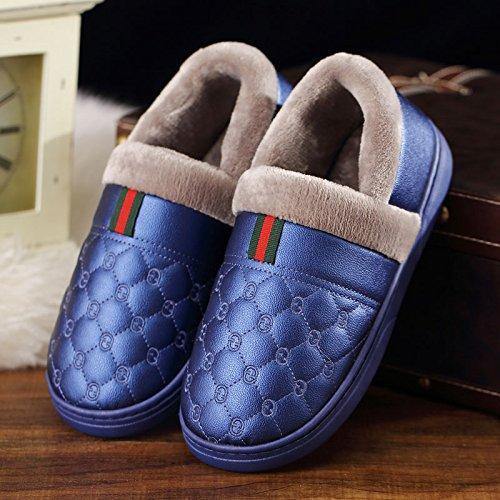 DogHaccd pantofole,Il cotone pantofole uomini pacchetto invernale con la calda coperta spessa soggiorno con pelle PU impermeabile antiscivolo scarpe di cotone coppia femminile Il blu1