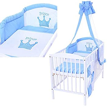 LCP Kids Prince Baby Bedding Complete Set XXL 9 pcs 135x100 - embroidered subject - Cot Bumper and Canopy - cotton surface Amazon.co.uk Baby  sc 1 st  Amazon UK & LCP Kids Prince Baby Bedding Complete Set XXL 9 pcs 135x100 ...