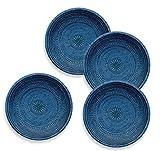 Plato de acompañamiento de piedra natural de color azul, con detalles, Plato artesanal, de melamina, para mesa de pícnic, barbacoa o bufé. Paquete de 4 platos de 21,5cm