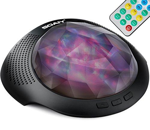 [neue Version] SOAIY Bluetooth LED Farbwechsel Nachtlicht Projektor Lampe Polarlicht Projektion Einschlaflicht mit Fernbedienung Timer installierte Naturgeräusche für Schlafzimmer Kinderzimmer Schwarz