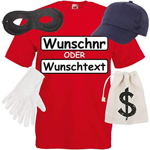T-Shirt Panzerknacker Kostüm mit Wunschnummer-STANDARDNUMMER Herren und Kinder Gr. 104-5XL Verkleidung zum Karneval Fasching (Verbrecher Kostüm Weiblich)