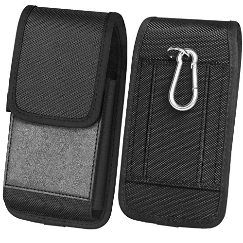 ykooe Handy Gürteltasche Nylon mit Leder Vertikal Leinwand Magnetschnalle Gürtel Schutztasche Gürteltasche mit Gürtelklammer iPhone 8 und Karte Hülle (Schwarz)
