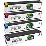 JARBO High Yield Ink Replacement for HP 970 971 Ink Cartridges Compatible for HP Officejet Pro X451dn X451dw X476dn X476dw X551dw X576dw Printer (1 Black,1 Cyan,1 Magenta,1 Yellow)
