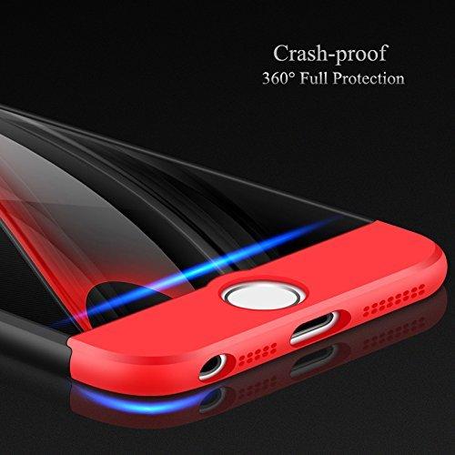 Vanki® Coque iPhone 6 Plus/6S Plus , Ultra Rigide Léger 360 Case Degres Souple 3-en-1 PC Récurer Protector Shell pour iPhone 6 Plus/6S Plus Noir