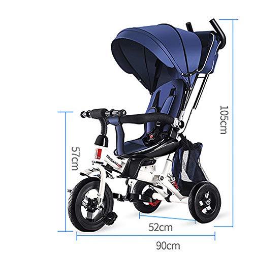 WYD Kleinkind Kind Dreirad Fahrrad Falten 1-3-5 Jahre Alt Drehsitz Kinderwagen 3 in 1 DREI Räder Kinderwagen Fahrrad,Blue (Falten Kleinkind Fahrrad)