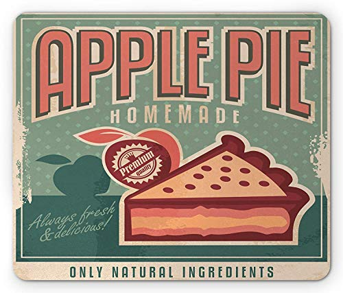 Retro Mouse Pad, Homemade Vintage Apple Pie Advert with a Slice on Grunge Rhombus Pattern Background, Standard Size Rectangle Non-Slip Rubber Mousepad, Multicolor - 8 Slice Pie