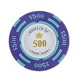 10pcs Jetons de Poker Monte Carlo Etiquette Casino Chips en Argile avec Valeur $1-10000 - 500, L