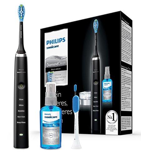 Philips Sonicare DiamondClean Neue Generation Elektrische Zahnbürste mit Schalltechnologie HX9355/86, 5 Putzprogramme, Zungenreiniger, schwarz - Elektronische 1 Jahr Zahnbürste