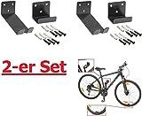 2 Stück----Fahrrad-Wandhalter für Pedaleinhängung mit Laufradstütze und Befestigungsmaterial