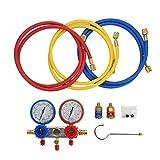 KIMISS Medidor de refrigerante de Aire Acondicionado Medidor de Placa de fluoruro de Diagnóstico [R134a Set]