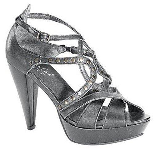 High Heel Sandalette aus Leder - Farbe Grau Grau