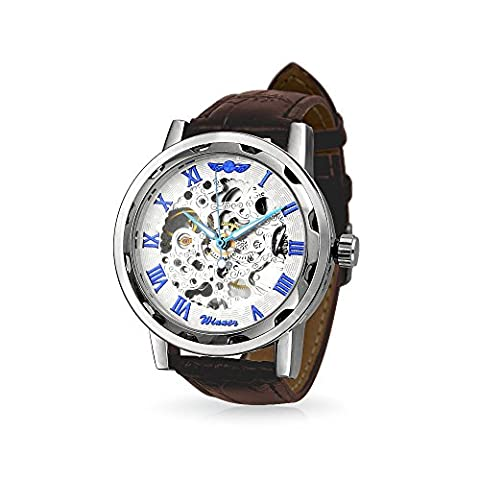 Bling Jewelry squelette Steampunk en cuir marron synthétique Mens Watch Alloy
