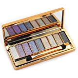 kegrys 9colores diamante brillante paleta de sombra de ojos con purpurina mate maquillaje cosméticos Fundación paleta con doble cara maquillaje cepillo, 2#
