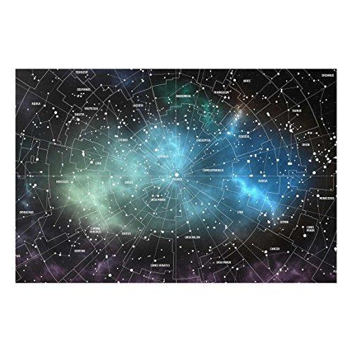 Glasbild Wandbild Sternbilder Karte Galaxienebel 40 cm x 60 cm