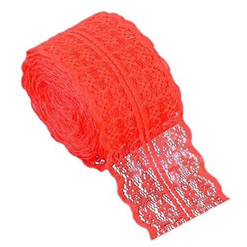 10 m Puntillas de encaje - Sólido Color Encaje Cinta Nupcial Boda Bricolaje Ropa Cortina Accesorios (Rojo)